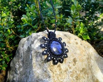 Macrame necklace with sodalite stone