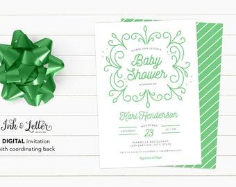 Green Baby Shower Invitation - Team Green Shower Invitations - Digital Baby Shower Invitation - Printable Invitation - Gender Neutral Shower
