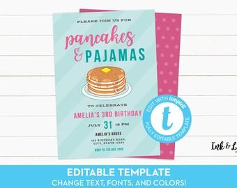 Pancake Birthday Invitation - Pancakes and Pajamas Invitation - Pancake Party Invite - Birthday Invitation Template - Printable Invitation