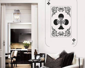Wall Vinyl Decal  Gaming Playing Cards Deck Ace Crosses Poker Play Room Decor  (#2684dn)