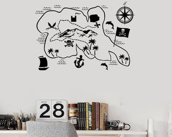 Pirate Map Vinyl Wall Decal Kids Zone Play Room Decor Art Stickers Mural (#2674di)