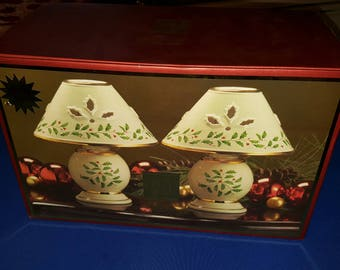 MIB Lenox Holiday Tea-light lamp set of 2 Votive Candle