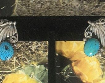 Beautiful Vintage  Sterling Turquoise Navajo Earrings
