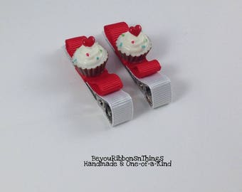 Cupcakes | Red Hearts | Hair Clips for Girls | Toddler Barrette | Kids Hair Accessories | Grosgrain Ribbon | Flatback| No Slip Grip