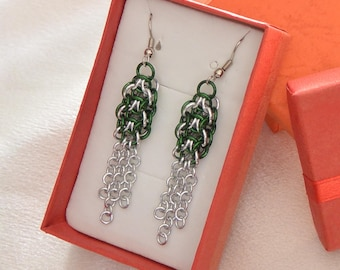 Green and Silver Elfweave Chainmail Earrings