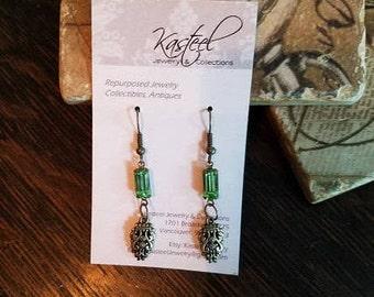 Vintage green charm earrings