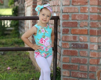 Blue Floral Leotard, Girls Leotard, Floral Bodysuit, Baby Leotard, Toddler Leo, Dance Leotard, Gymnastics Leotard