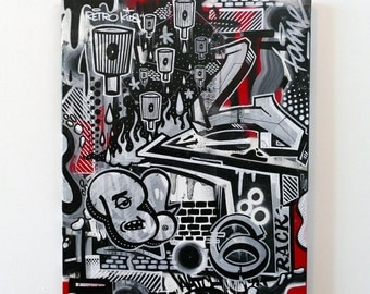 Abstract Graffiti Canvas 16x20""