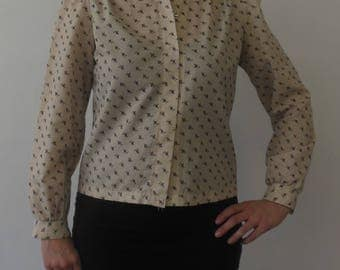 Vintage Floral Work Blouse Size Medium
