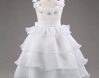 White flower girl dress,White ruffle dress,White tutu dress,Long white dress,Communion dress,Princess dress,Birthday dress,Wedding, Holiday