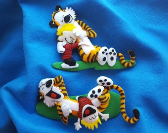 Each sold separately-Calvin and Hobbes felt wall art-HUGS-TREE-LAUGHS Nursery decor-Calvin and Hobbes Baby shower gift-Custom C&H welcome