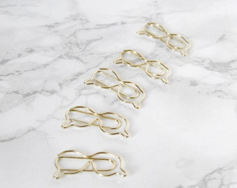 Set of 5 Glasses paperclips - Glasses Paperclip Bookmarks - Genius Cute Stationery - Geek Paperclip - Petit Bout de France