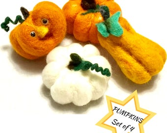 Unique Pumpkin Wool Sculptures, Needle  Felted Ornaments, Original Hand Felted Sculptures, Table Decor, Harvest Decor,Ask Fridge Magnet