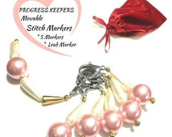 Peach Pearl Stitch Markers Set, Knitters Gift, Progress Markers, Unique Xmas Gift, Versatile  Key Rings, Bag Charms, Unique Style Gift