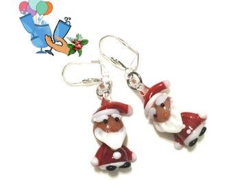 Santa Earrings, Xmas Earrings, Small Glass Santa's,  Santa Drop Earrings, Festive Xmas Earrings, Silver Santa Earrings Gift,