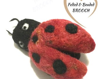 Red Lady Bug Brooch, Felted Lady Bug Brooch, Good-Luck Brooch, Felted Jacket Pin, Versatile Pendant ,Fridge Magnet, Needle Felted Jewellery