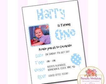 Personalised Photo Birthday Party Invitations Thank You Card Boy Girl Polkadot (IN002)