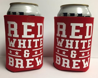 Red White and Brew Can Cooler - Set of 2 - 4th of July - Holiday - Patriotic - Gift