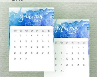 Printable Calendar 2018, Calligraphy Calendar Planner 2018 PDF, A4  A5 Calendar Printable Wall Calendar Calligraphy Instant Download