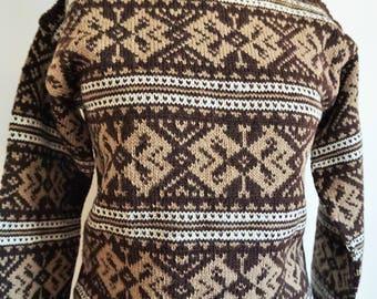 Vintage Norwegian Sweater / Norway wool / Women / Men / Small / S / Nordic / Scandinavian / Pullover / Brown / Winter