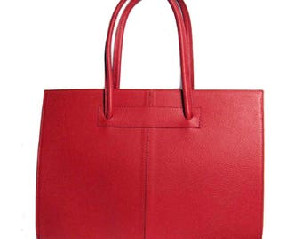 Red Ladylike Pebble Genuine Leather Tote Bag Handbag Made In Italy