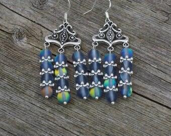 Rainbow Moonstone Chandelier Earrings ~ White Labradorite Stones ~ Iridescent Gemstones ~ Mother's Day ~ Healing Jewellery ~ Easter Gift