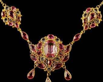 Antique Victorian Pink Paste Necklace Circa 1870