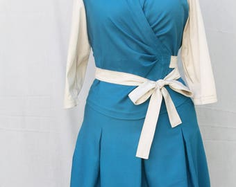 Teal blue pleated skirt - Blue cotton pleated skirt - Hand made - Made in Paris