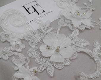 Ivory Lace applique, 3D lace Beaded lace applique, French Chantilly lace applique, 3D lace, bridal lace applique