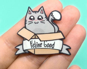Cat pin, Funny brooch, Pun, Cat in a box, Feline Good, Bag's pin, Cat lover gift