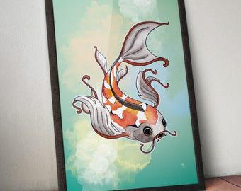 Koi fish, Japanese carp, Watercolor print, Wildlife art, Home decor