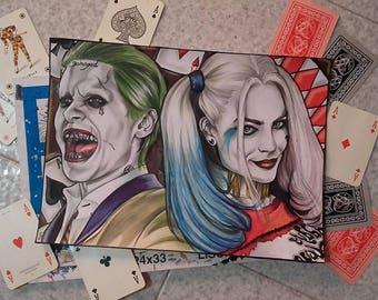 Paper Portrait of Joker & HarleyQuinn by Suicide Squad