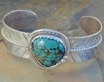 Vintage Southwestern Heavy Sterling Silver and Turquoise Feather Cuff Bracelet - 41 Grams