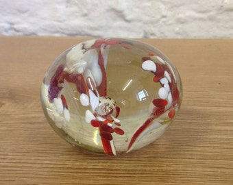 Vintage Glass Paperweight. Colorful Red And White Swirl Design. Good Condition.