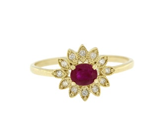 Ruby Engagement Ring, Gold Ruby Ring, Ruby Halo Ring, Ruby Ring Vintage, Diamond Ruby Ring, Promise Ring, Anniversary Ring, Unique, GR0492
