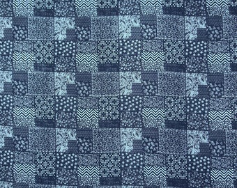 """Indian Floral Print, Navy Blue Fabric, Dress Material, Quilting Fabric, Home Decor, 44"""" Inch Cotton Fabric By The Yard ZBC8760A"""