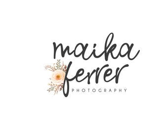 Logo and Watermarks, floral logo, logo with watercolor flower, calligraphy logo, custom logo, watercolor logo, floral logo, branding pack