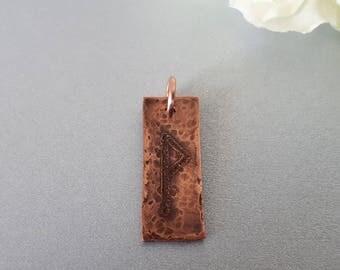 """Wynn: Hand engraved Copper Rune Pendant – """"WYNN"""" (Joy)"""