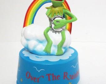 Kermit Frog Muppets Over the Rainbow Music Box Musical Figure Hamilton 1990