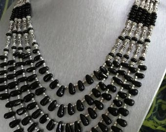 Five Strand Black Onyx Necklace and Earring Set