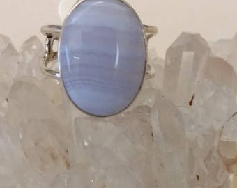 Blue Lace Agate Ring Size 6 1/2