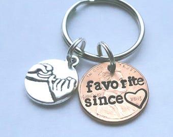Custom Favorite Best Friend Lucky Penny Keychain, Best Friend Gift, BFF, Girlfriend Gift, Besties Gift, Valentine's, Aunt, Sister, Niece