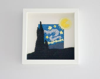 Crochet PATTERN No 1719- Picture frame - Starry night - pattern by Krawka, famous paintings,  wall decor
