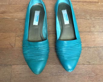 vintage 80s partners by mervyns taylor teal slip on loafers made in brazil womens shoe size 7 1/2 M