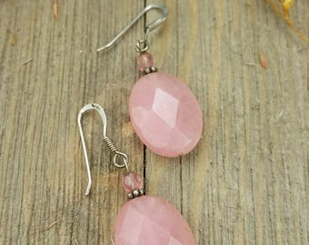 Vintage Pink Sterling Silver Earrings