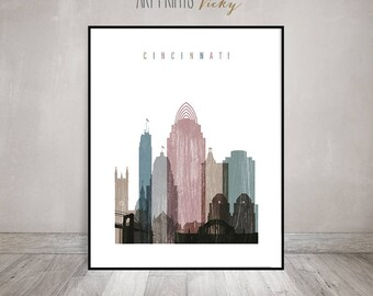 Cincinnati art print, Cincinnati skyline art, Cincinnati poster, Distressed art, Travel decor, Home Decor, Fine art prints, ArtPrintsVicky