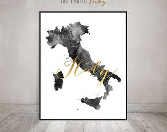 Italy watercolor map, Italy print, poster, Italy Wall art, Italy map poster, Italy map, black & white with faux gold text ArtPrintsVicky