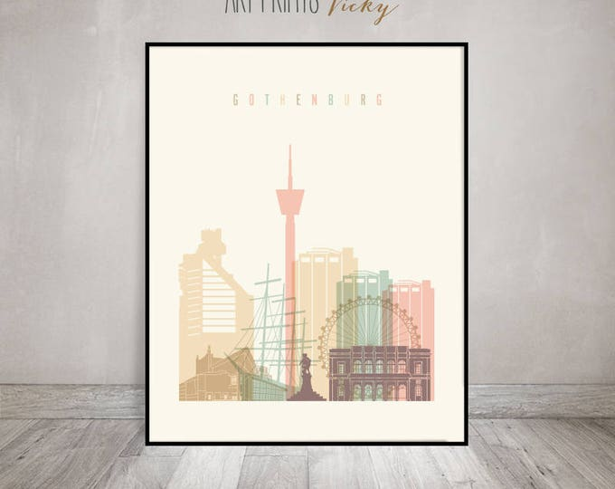 Gothenburg art print, Poster, Gothenburg skyline, Travel wall art,  Sweden City print, Gift, Home Decor, Wall decor, ArtPrintsVicky