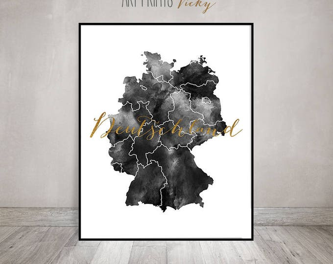 Germany watercolor map print, Poster, Black and White, Deutschland, Germany Wall art, Germany map poster, faux gold text, ArtPrintsVicky