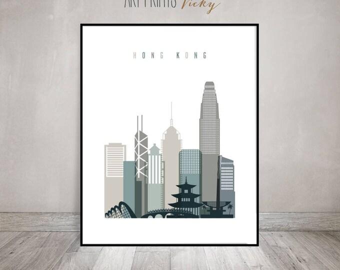 Hong Kong wall art print, Hong Kong skyline, Hong Kong poster, cityscape art, Travel decor, Housewarming gift, Home Decor, ArtPrintsVicky